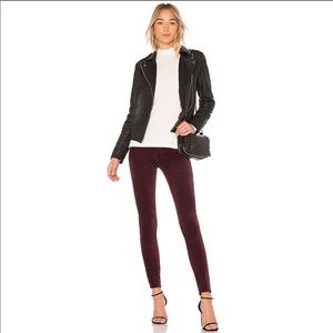 Rag & Bone High Rise Skinny Jeans in Burgundy